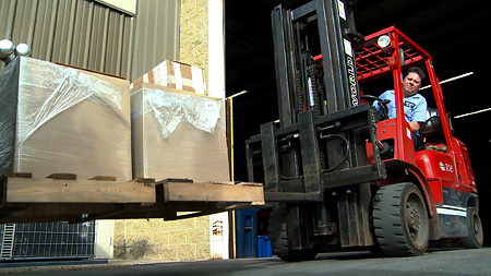 Orders efficiently moved with forklifts