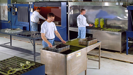Providing fluorescent liquid penetrant inspection for products to 40 ft. long