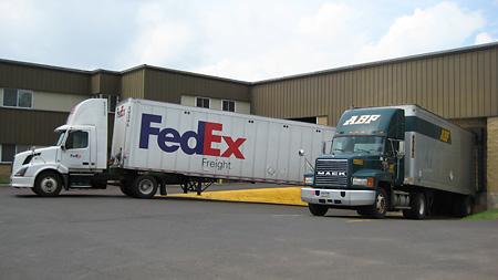 Loading docks accomodate large vehicles