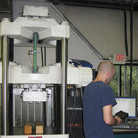 Tensile strength test on metal
