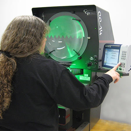 Optical comparator dimensional inspection