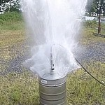 Hydrostatic pressure test on keg